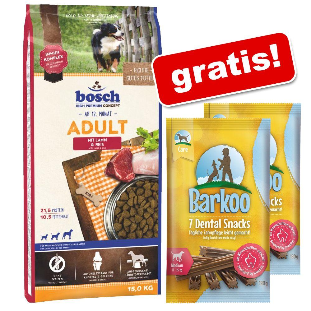 Duże opakowanie Bosch + Barkoo Dental Snacks, dla średnich psów, 360 g, 14 szt. gratis! - Special Light, 12,5 kg