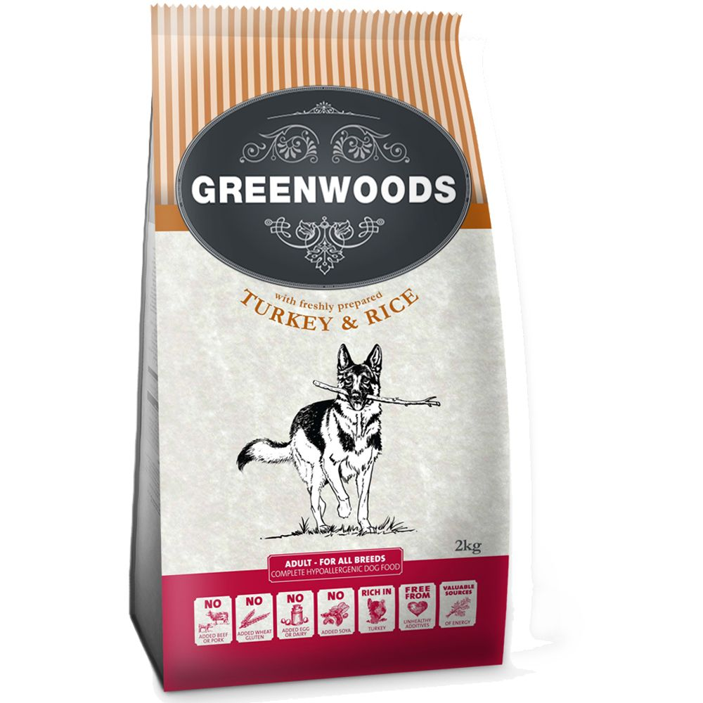 Greenwoods Dog Food 2kg - Trial Pack - Adult - Fish & Rice (2kg)