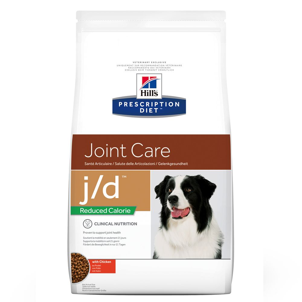 Hill's Prescription Diet j/d Reduced Calorie Joint Care hundfoder med kyckling - Ekonomipack: 2 x 12 kg
