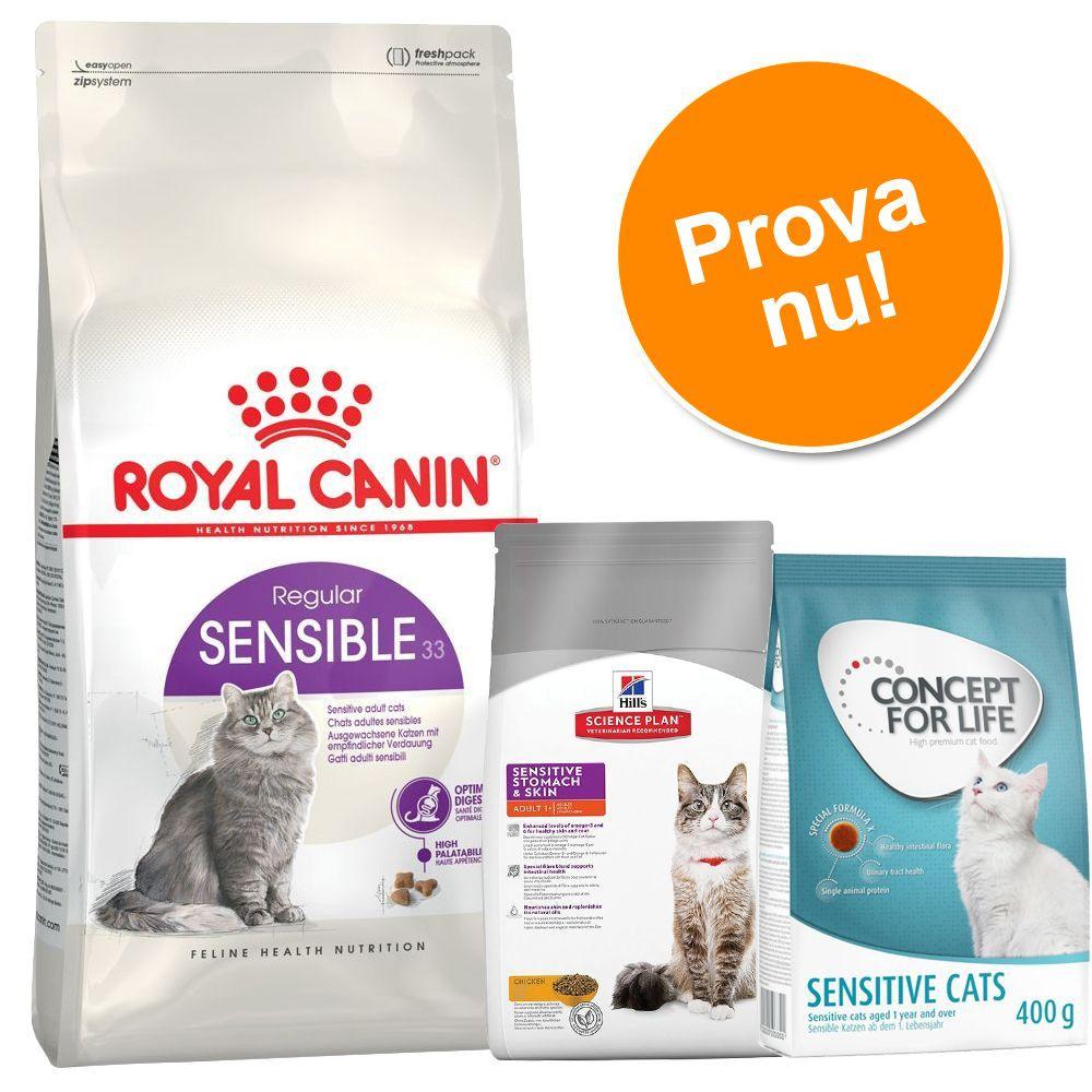 Provpack för känsliga katter - 2 kg RC Sensible, 400 g Hill's Sensitive Stomach, 400 g Concept for Life Sensitive
