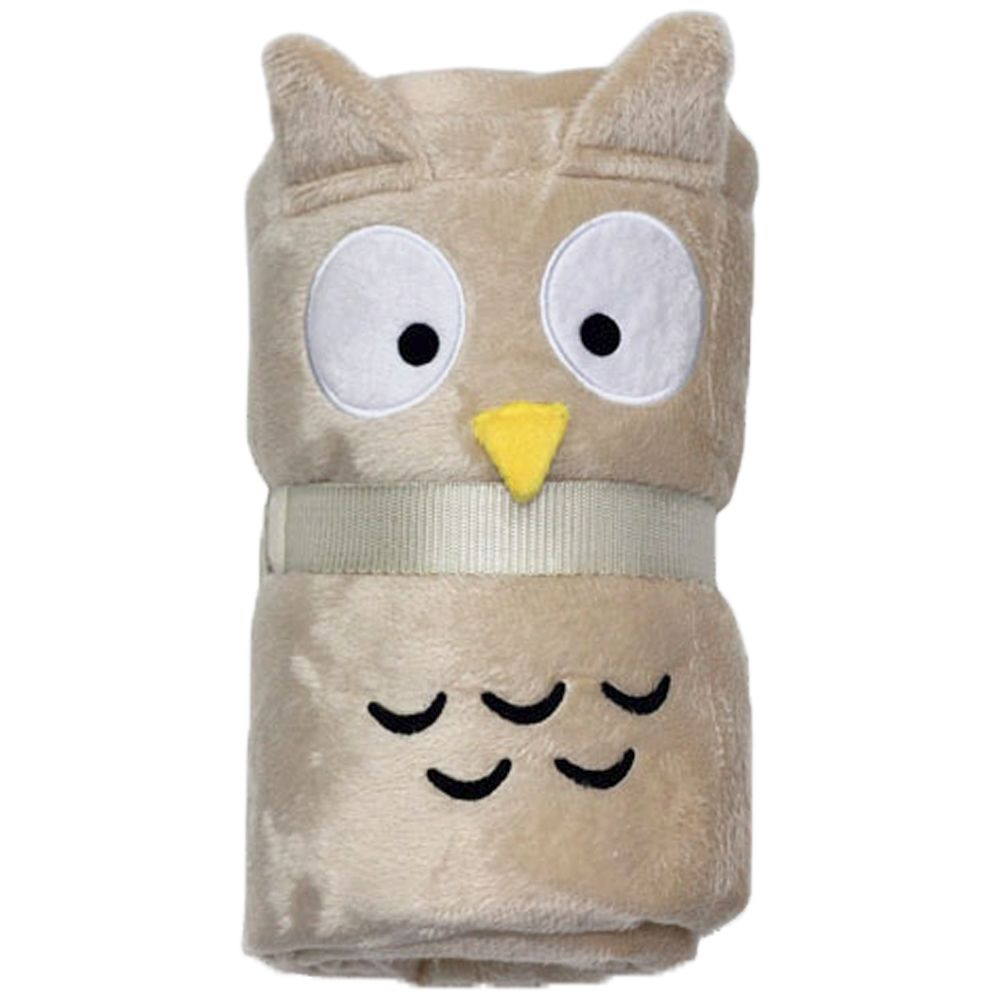 Plush Owl Dog Blanket - Beige - 100 x 70 cm (L x W)