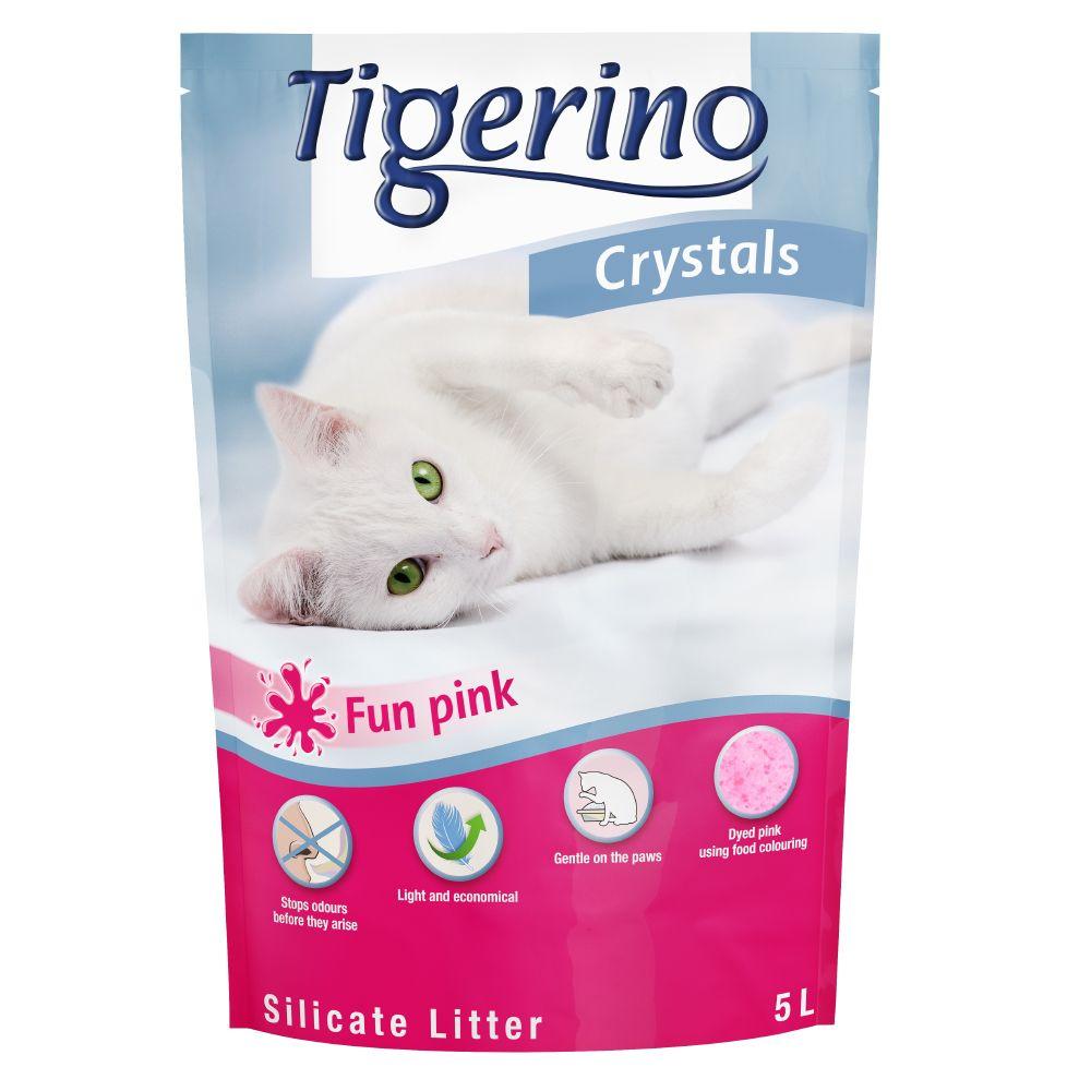 Tigerino Crystals Fun - färgglatt kattströ - Rosa 5 l