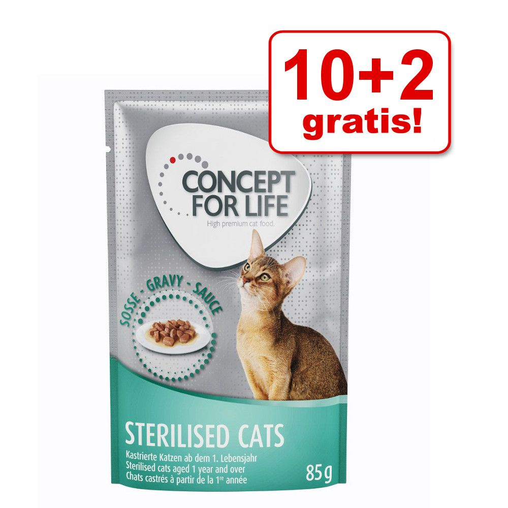 10 + 2 gratis! Concept for Life, 12 x 85 g - Sterilised Cats w galarecie