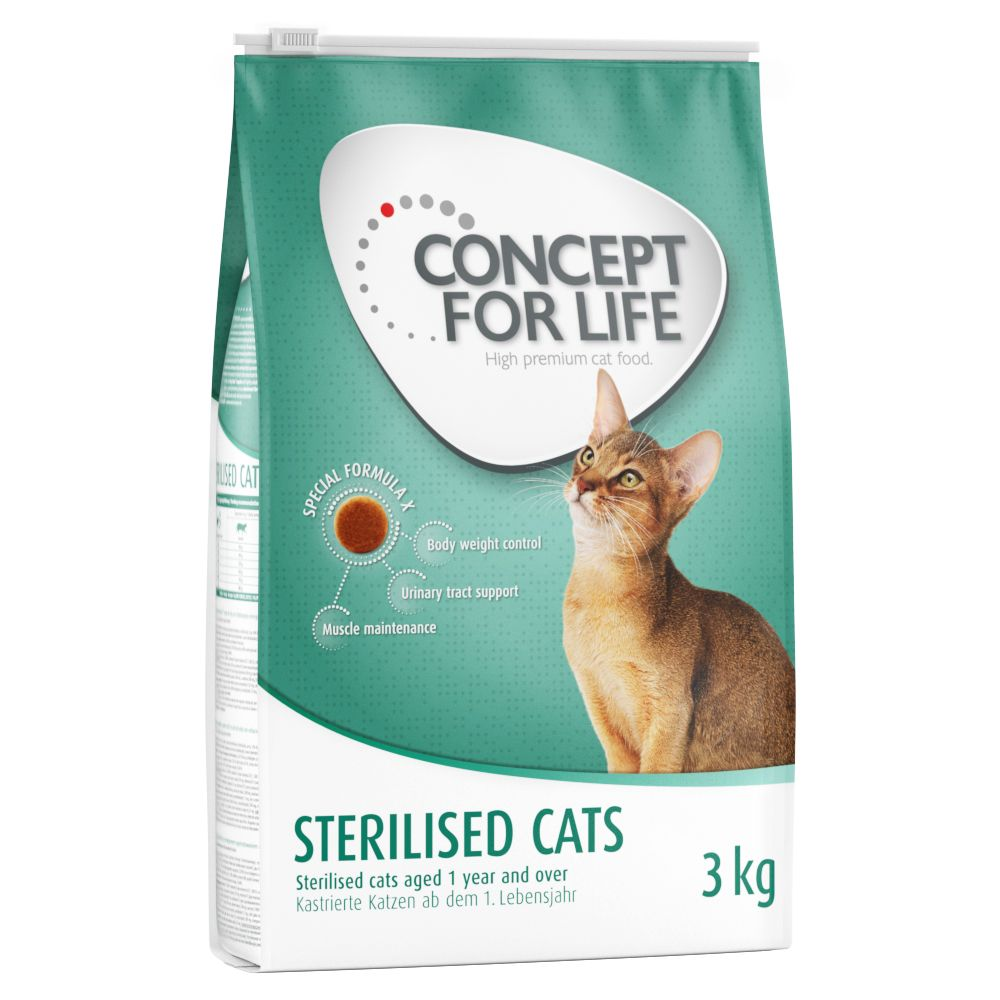 3kg Concept For Life Dry Cat Food + 24x85g Wet Food Sterilised Cat