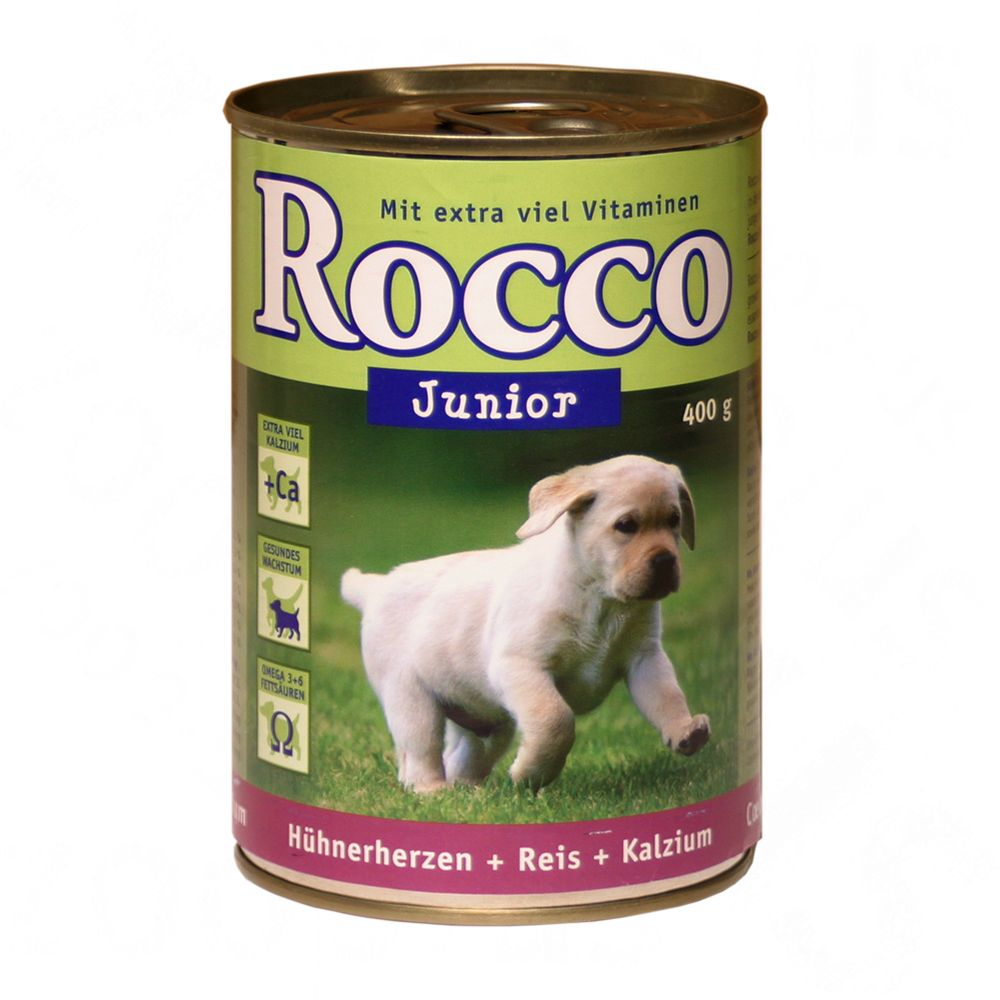 Rocco Junior Saver Pack 12 x 400g - Turkey, Veal Hearts & Calcium