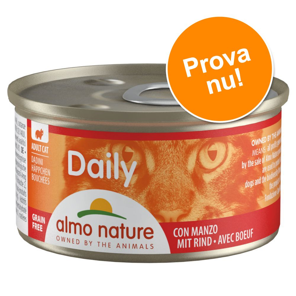 Provpack: 6 x 85 g Almo Nature Daily Menu - Mousse Tonfisk/Kyckling + Kyckling (2 sorter)
