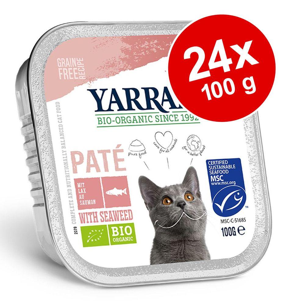 Ekonomipack: Yarrah Organic 24 x 100 g Blandpack I: Paté - Kyckling & Kalkon + Lax