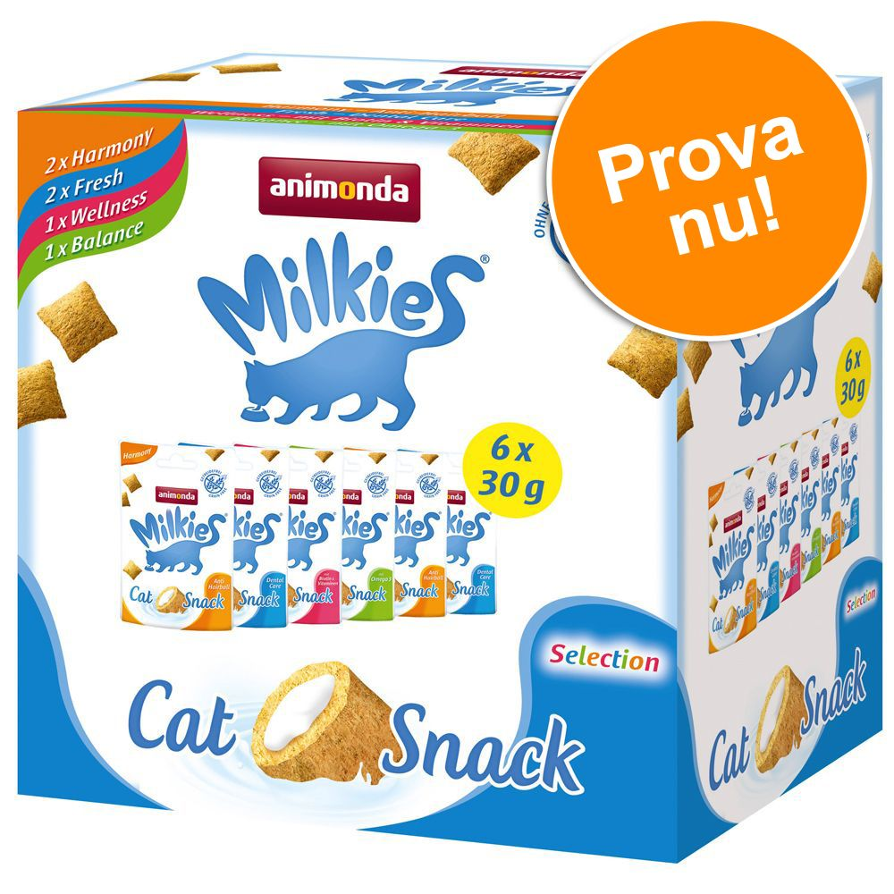 Blandpack: Animonda Milkies knaperkuddar - 6 x 30 g (4 sorter)