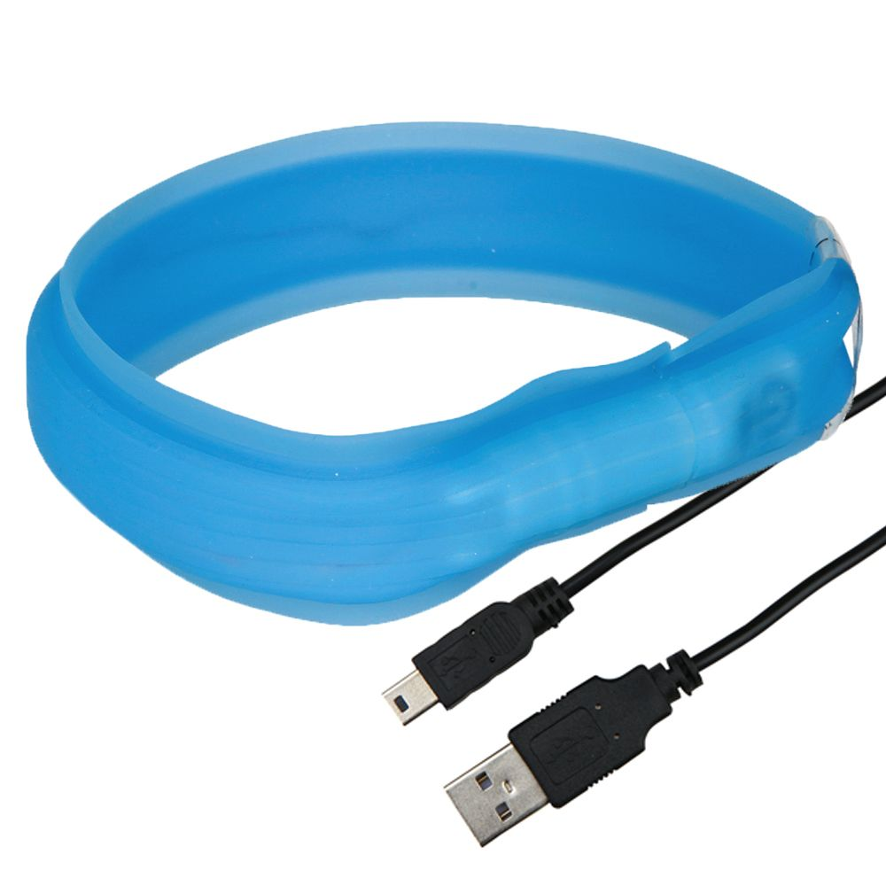 Trixie USB Flash Leuchthalsband langhaar - L-XL: 70 cm / 30 mm