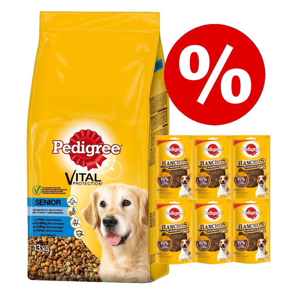 15 kg Pedigree Trockenfutter + Ranchos Original Cuts Snacks zum Sonderpreis! - Adult mit Huhn und Gemüse (15 kg) + Rind (6 x 65 g)