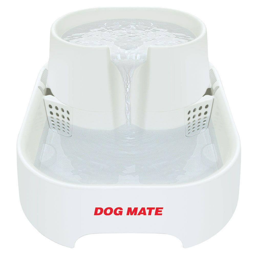 Dog Mate Trinkbrunnen, 6 Liter - Komplettset: Brunnen, 2 Ersatzfilter, Ersatzpumpe
