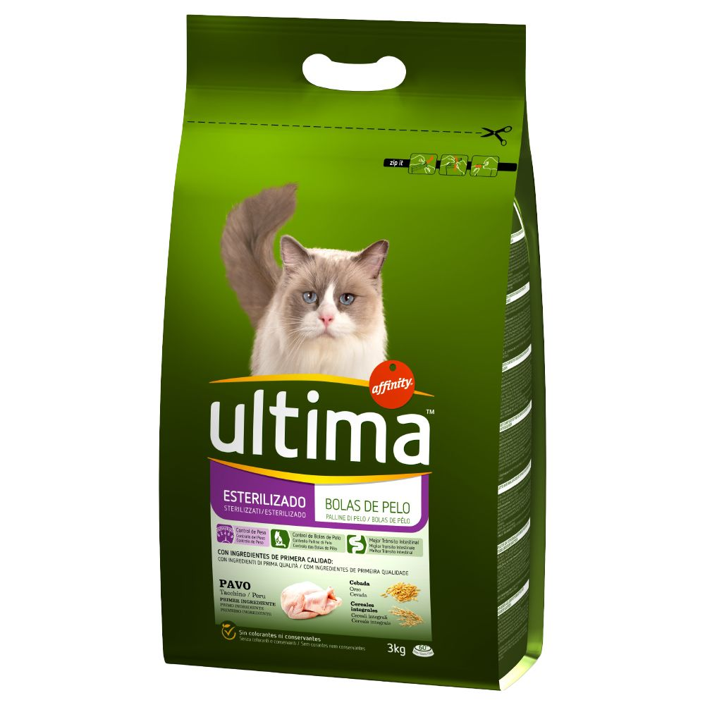 Ultima Sterilised Hairball Turkey & Barley Economy Pack: 2 x7.5kg