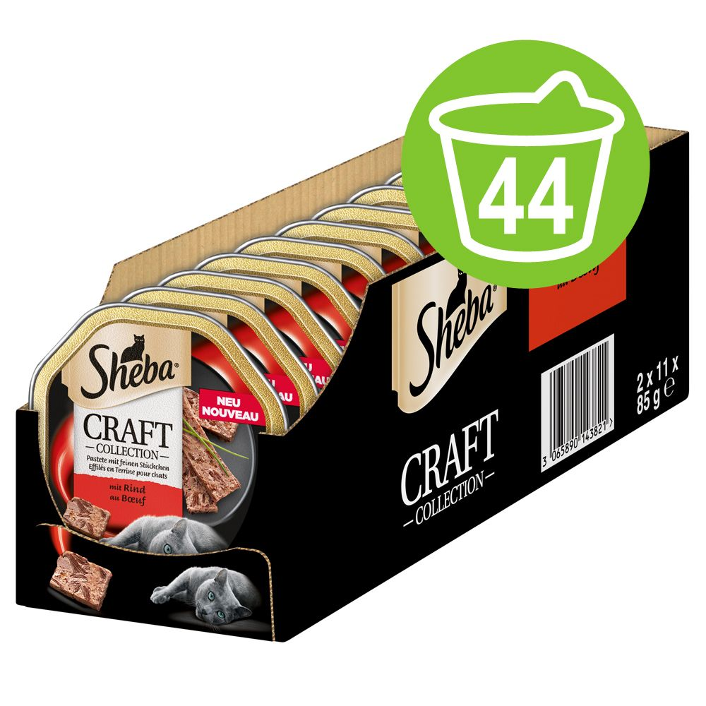 Ekonomipack: Sheba Craft Collection portionsform 44 x 85 g - Paté med fina bitar av nötkött