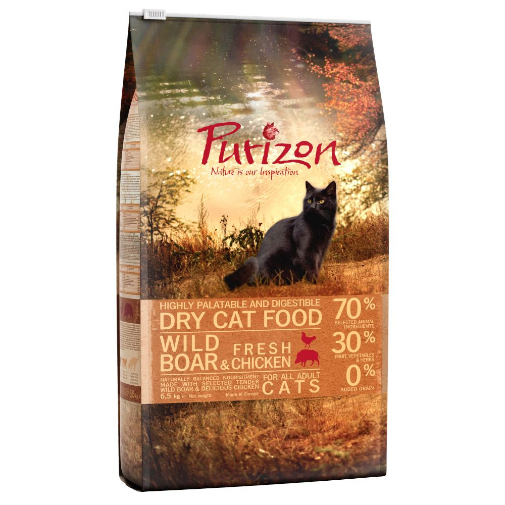 6.5kg Purizon Dry Cat Food + 2 x 21g Cosma Snackies Salmon Free