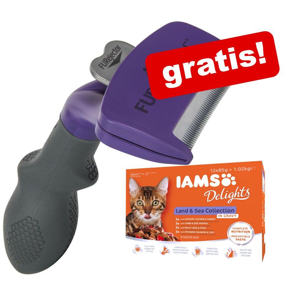 FURminator deShedding Tool för katt + 12 x 85 g IAMS Naturally Cat Adult Mix - Liten katt / pälslängd över 5 cm NY DESIGN