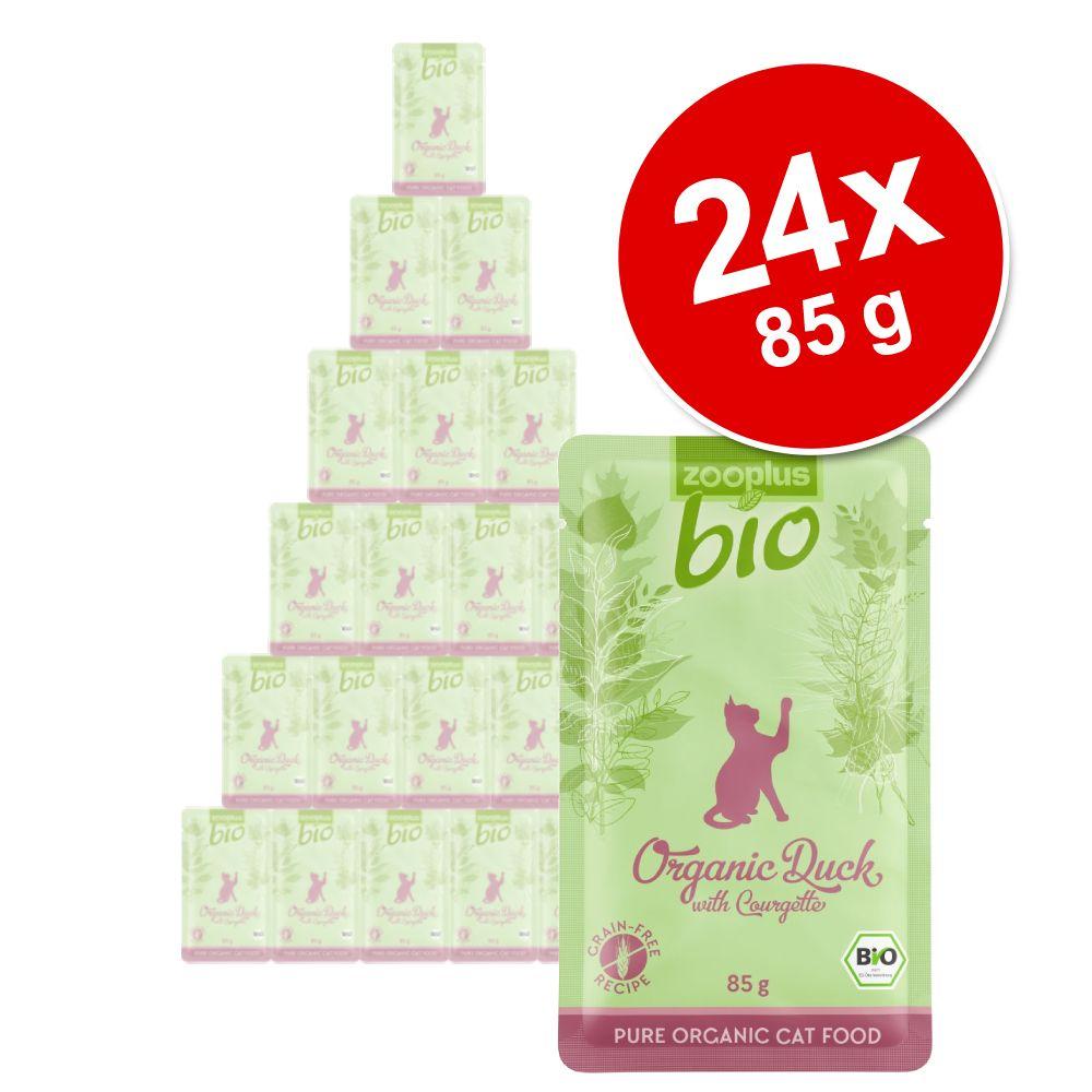 zooplus Bio 24 x 85 g comida biológica para gatos - Pack económico - Bio Frango com bio cenoura