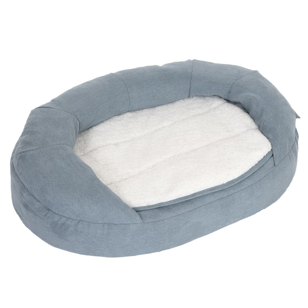 INOpets.com Anything for Pets Parents & Their Pets Oval Memory Foam Dog Bed - Grey - 100 x 65 x 22 cm (L x W x H)