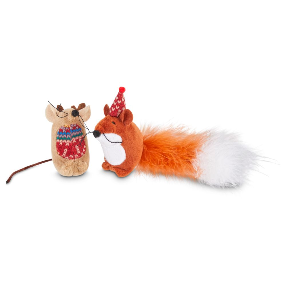 INOpets.com Anything for Pets Parents & Their Pets Festive Catnip Animal Toys - 2 Toys