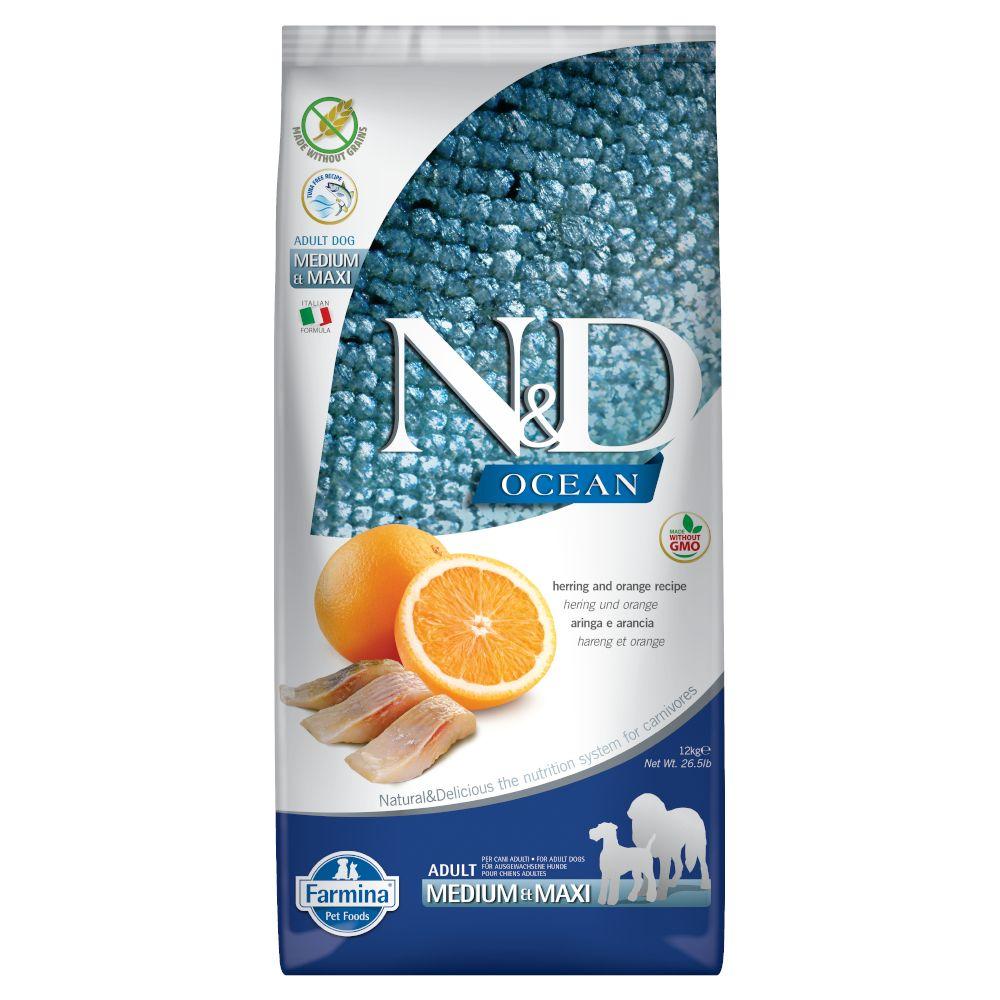 Farmina N&D Ocean Grain Free Herring & Orange Adult Medium & Maxi  - säästöpakkaus: 2 x 12 kg