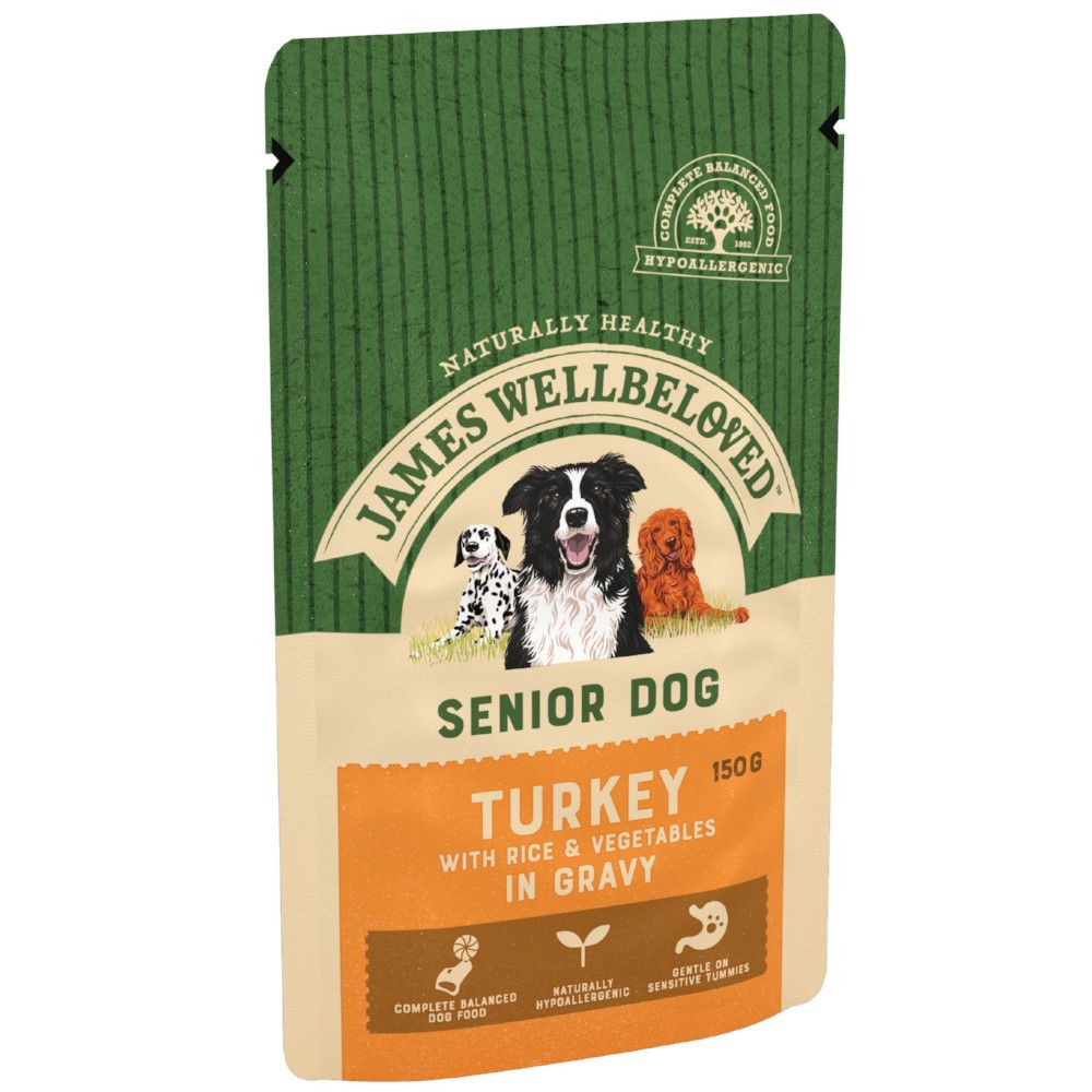 10x150g Senior Turkey & Rice James Wellbeloved Wet Dog Food