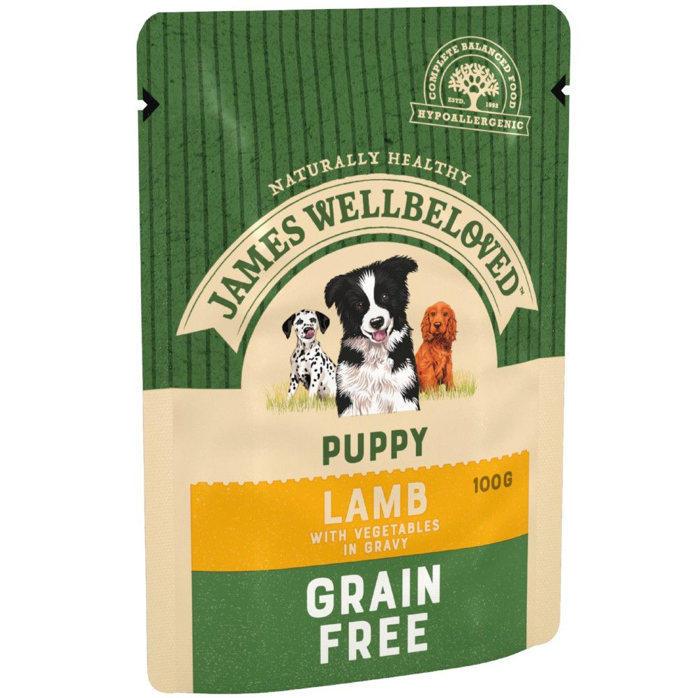 Puppy/Junior Lamb & Vegetables Grain-Free Pouches James Wellbeloved Wet Dog Food