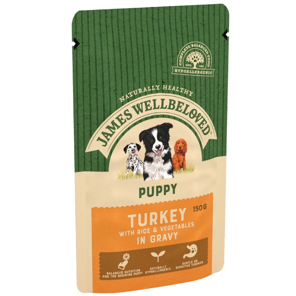 Puppy Turkey & Rice James Wellbeloved Pouches