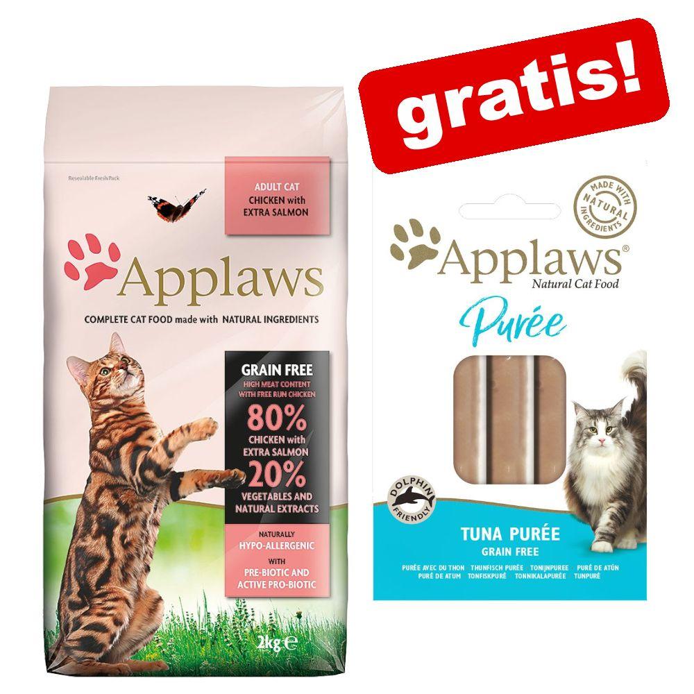 2 kg Applaws Katzenfutter + 8 x 7 g Applaws Puree Snacks gratis! - Adult Huhn