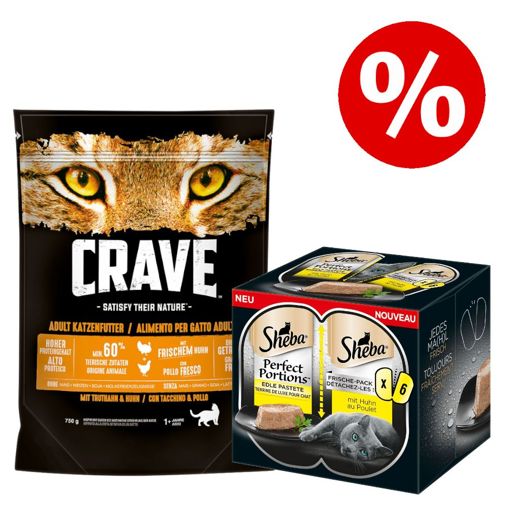750 g Crave torrfoder + 6 x 37,5 g Sheba Perfect Portions till sparpris! - Turkey & Chicken (750 g) + Perfect Portions: Nötkött (6 x 37,5 g)