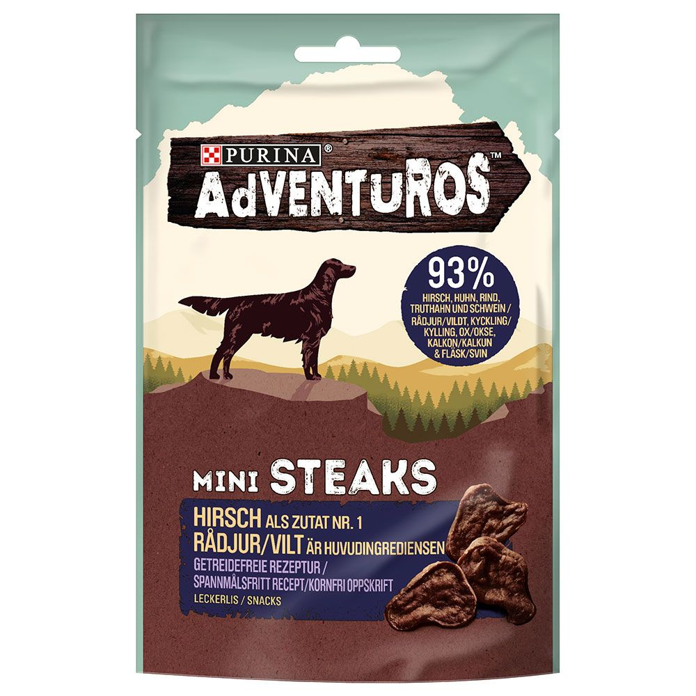 7x70g Venison Mini Steaks Adventuros Dog Treats