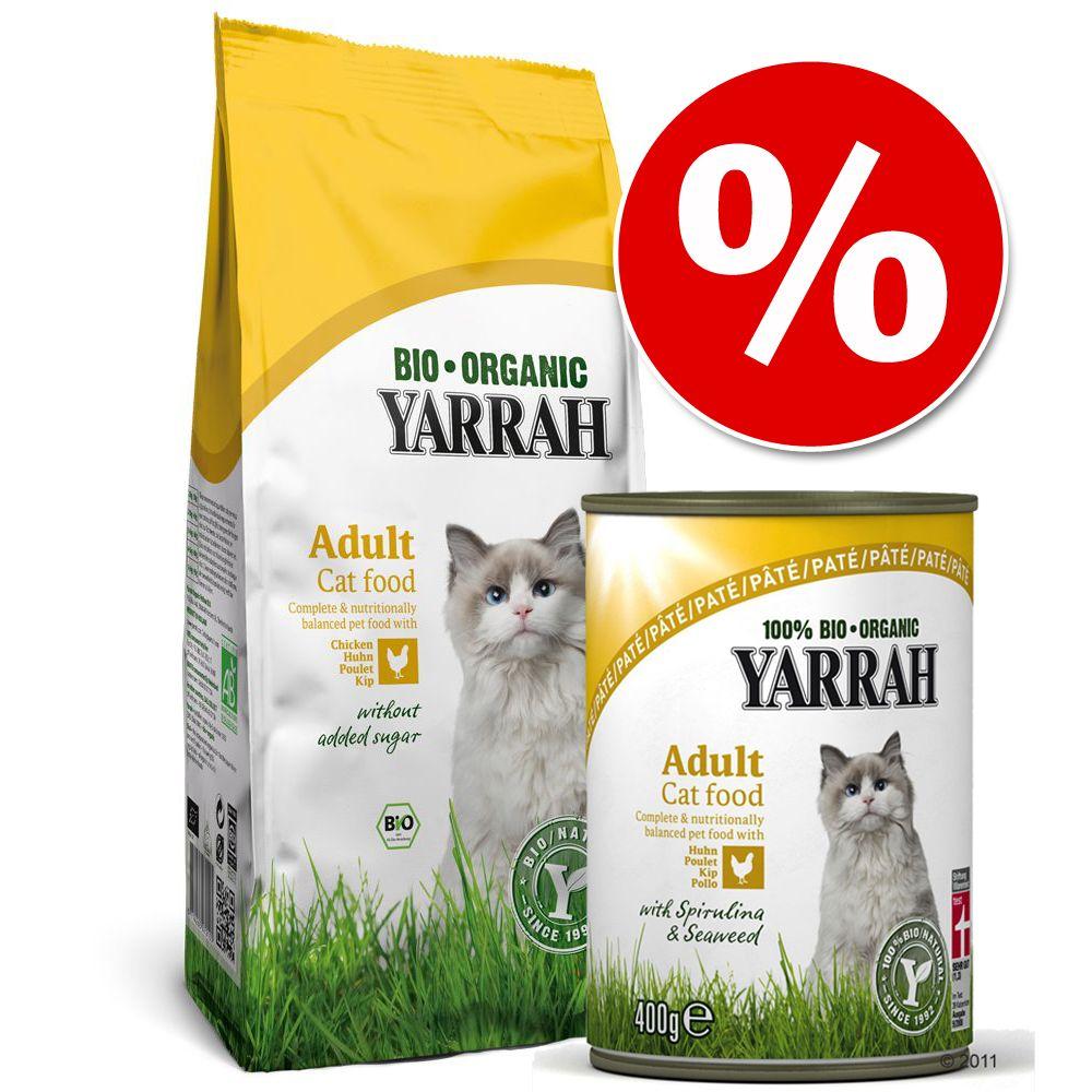 Blandpack: 10 kg Yarrah Organic + 24 x 400 g våtfoder – Fisk + 18 x 400 g Fisk Paté
