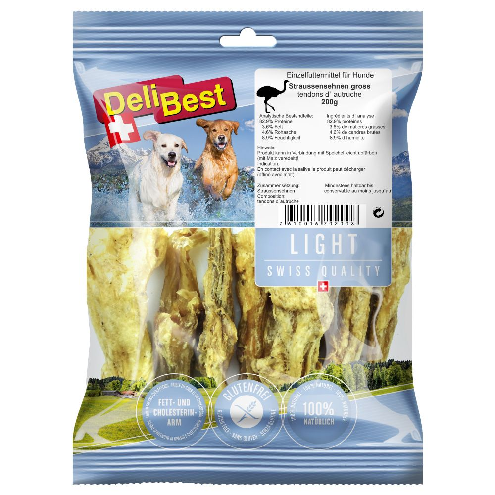 Light Ostrich Tendons DeliBest Ostrich Dog Treats