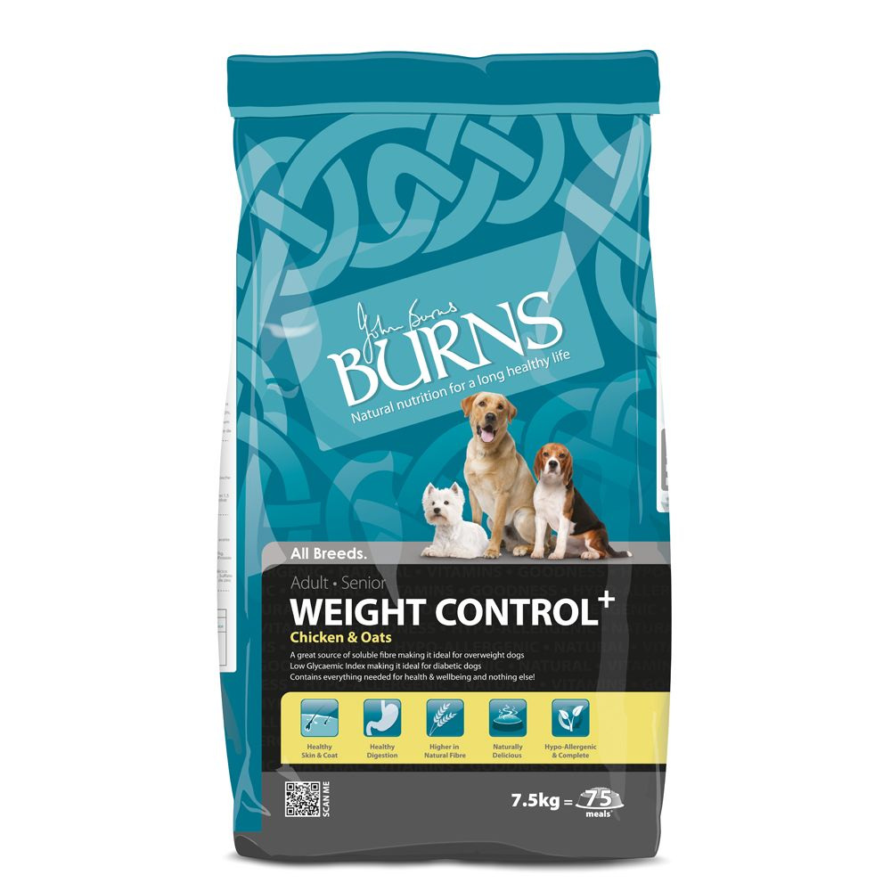 Burns Adult & Senior Weight Control+ - Chicken & Oats - 15kg