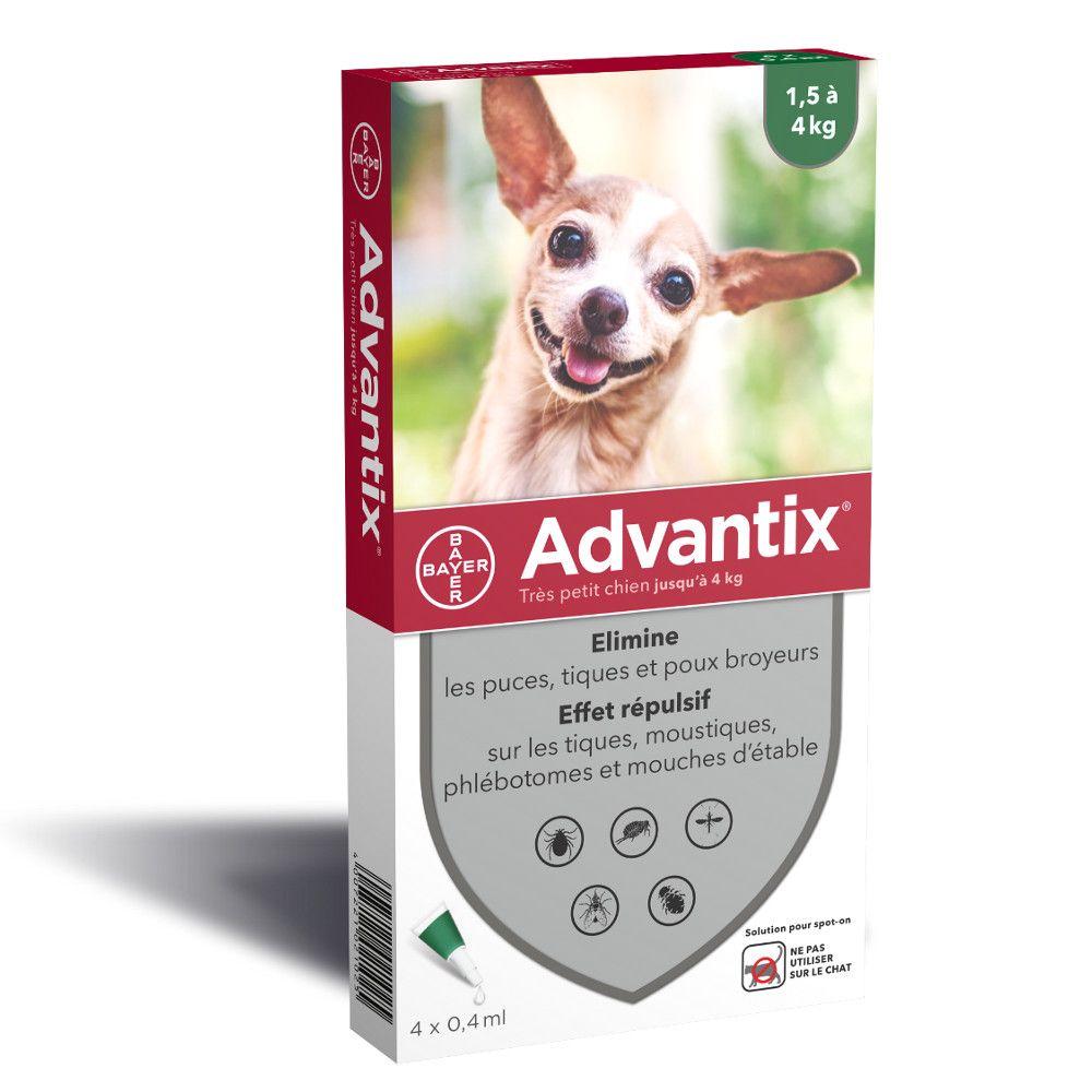 4 pipettes très petit chien Advantix® jusqu'à 4kg - Antiparasitaire pour chien