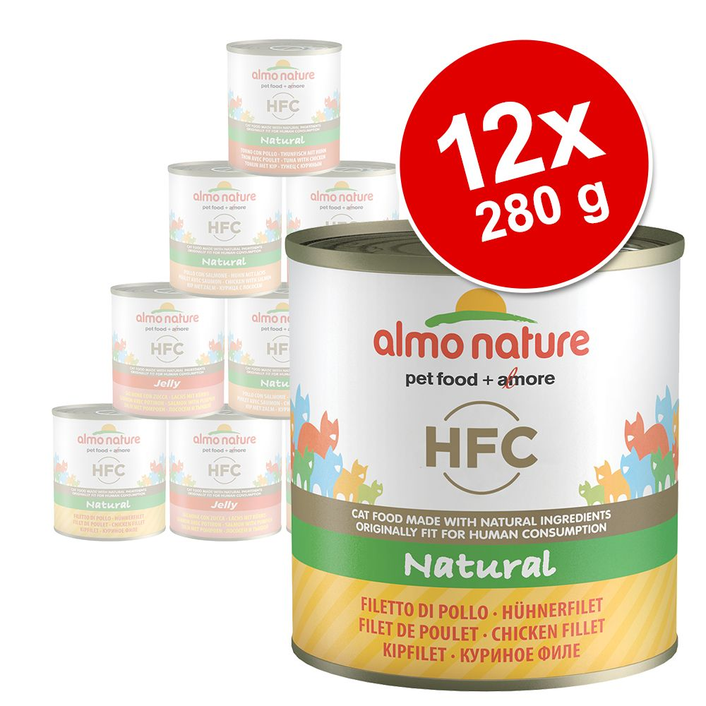 Ekonomipack: Almo Nature HFC 12 x 280 g - Tonfisk & kyckling