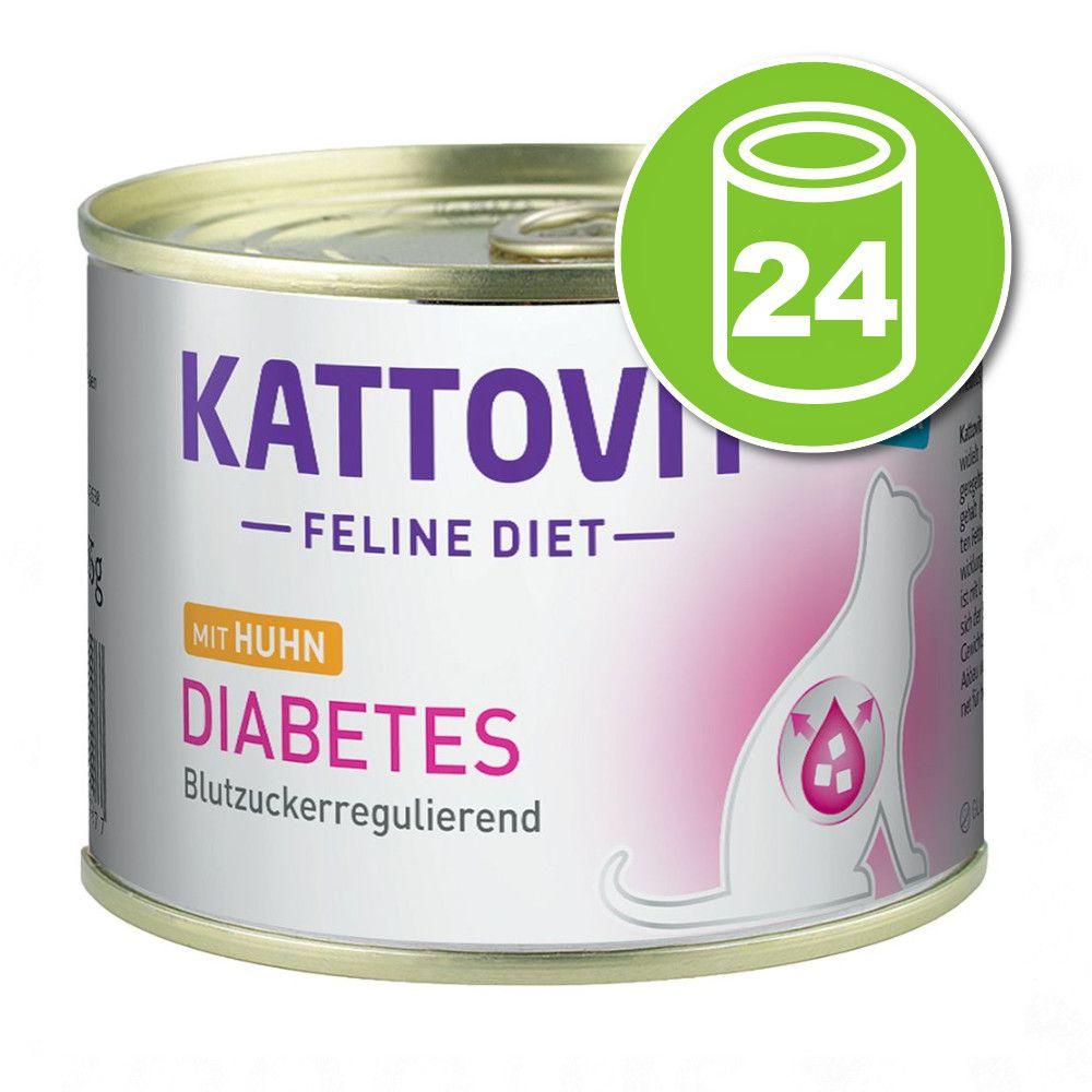 24x185g Kattovit Diabète poulet - Pâtée pour chat