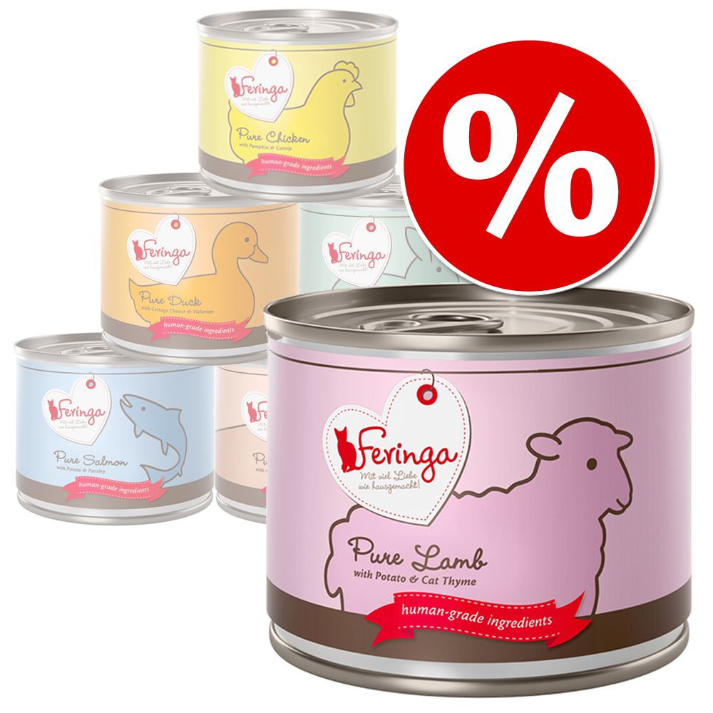 6 x 200 g  Feringa Pure Meat Menü Probierpreis - Kalb mit Brokkoli & Löwenzahn