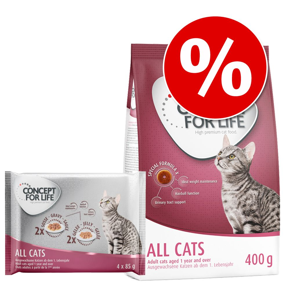Blandpack: 400 g Concept for Life torrfoder + 4 x 85 g våtfoder - Sensitive Cats blandpack