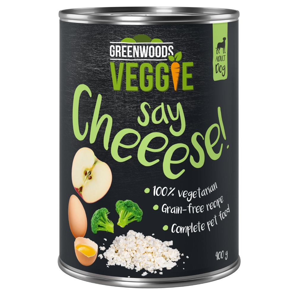 12 x 400g Greenwoods Adult Veggie Wet Dog Food - 10 + 2 Free!* - Veggie Cottage Cheese with Egg, Apple & Broccoli