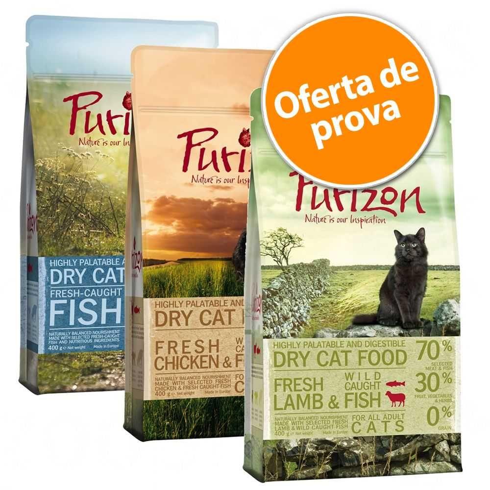 Purizon ração para gatos - Pack misto - 2x400 g: Sterilised Adult Peru e frango e Sterilised Adult Frango e peixe