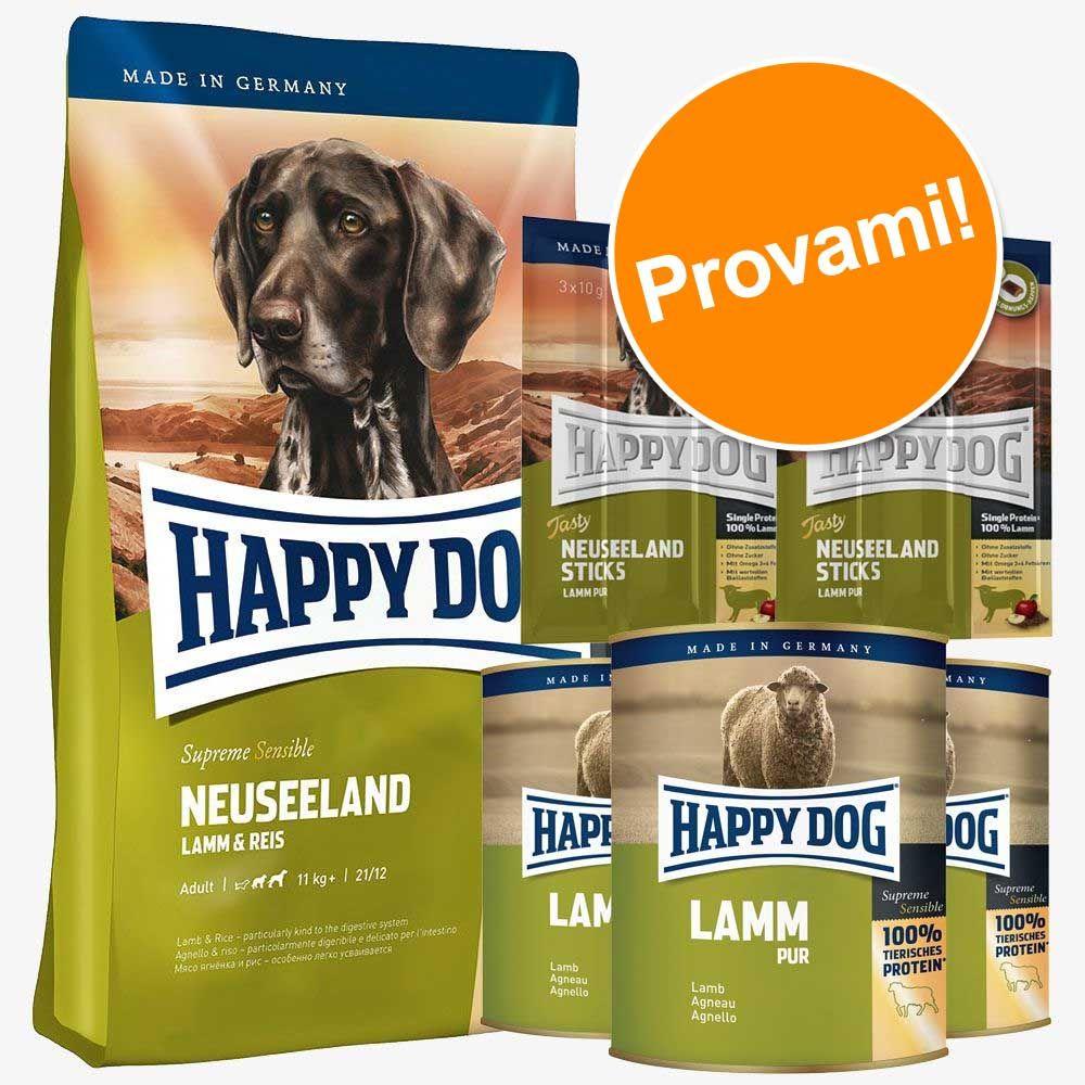 Foto Set prova Happy Dog Nuova Zelanda secco + umido + snack - 12,5 kg + 6 x 800 g + 6 x 10 g Happy Dog Supreme Sensible