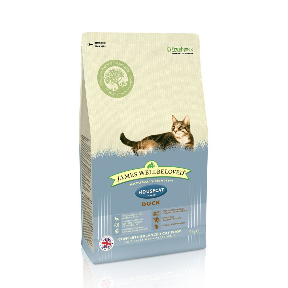 James Wellbeloved Adult Cat Housecat - Duck - Economy Pack: 2 x 4kg