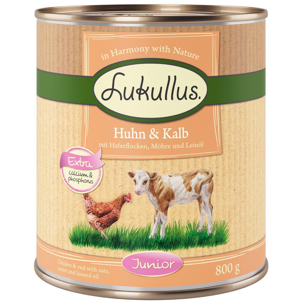 6x800g Chicken & Veal Junior Lukullus Wet Dog Food
