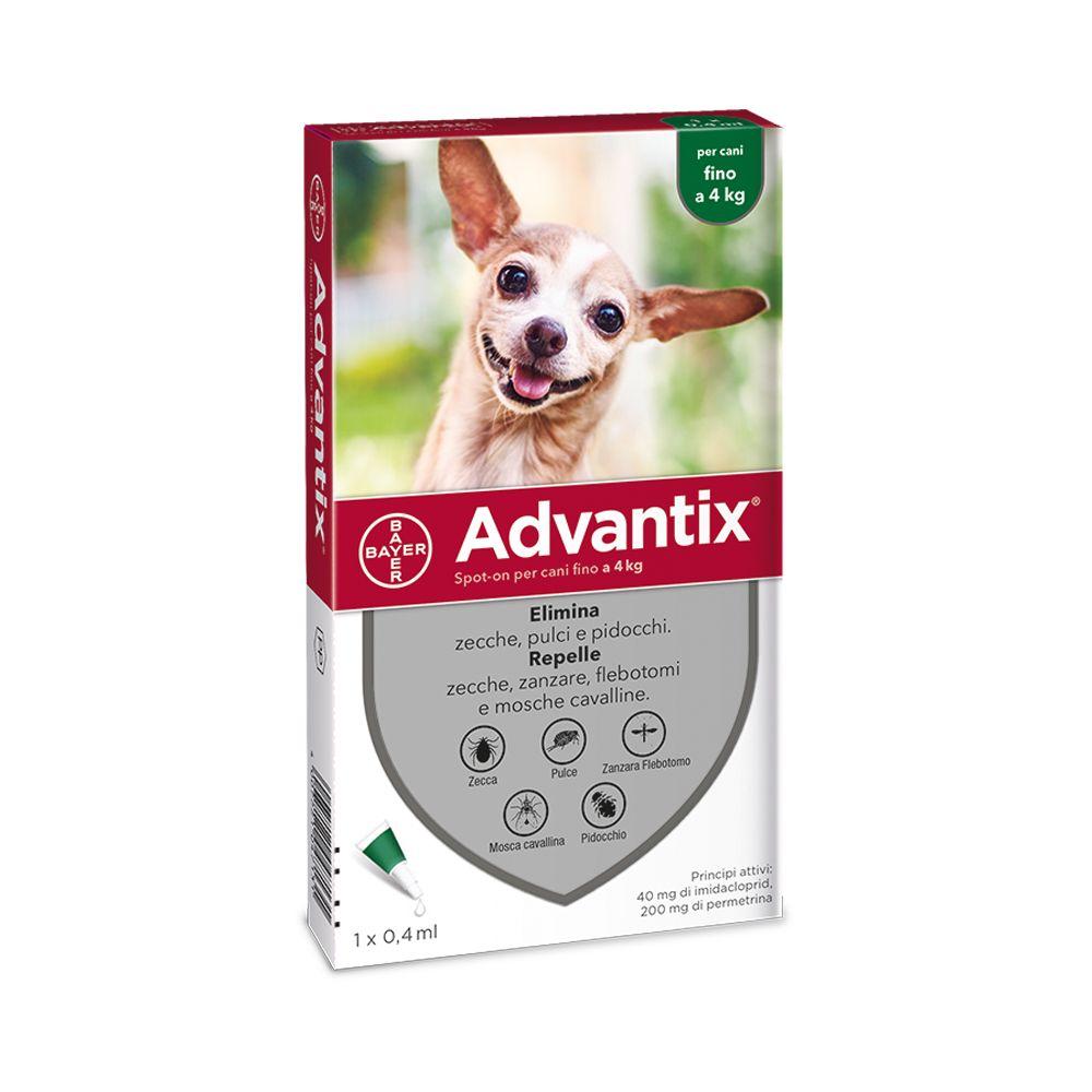 Image of Advantix Spot-on per cani - 4 pipette, cani fino a 4kg (0,4 ml)