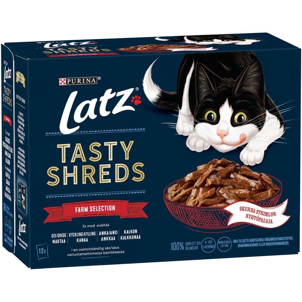 "Latz """"Tasty Shreds"""" Pouches 12 x 80 g - Fish Selection"