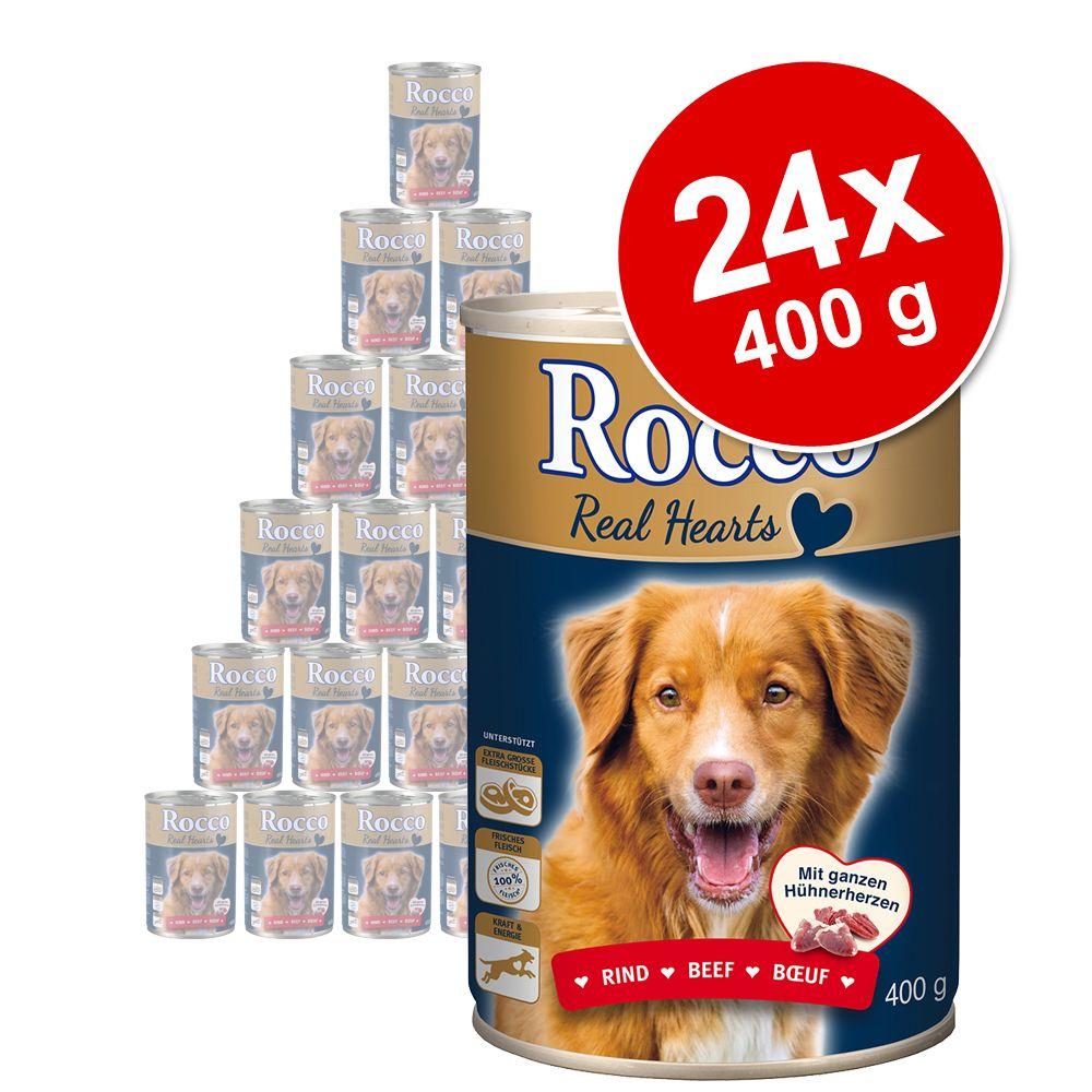 Megapakiet Rocco Real Hearts, 24 x 400 g - Wołowina z całymi sercami kurczaka