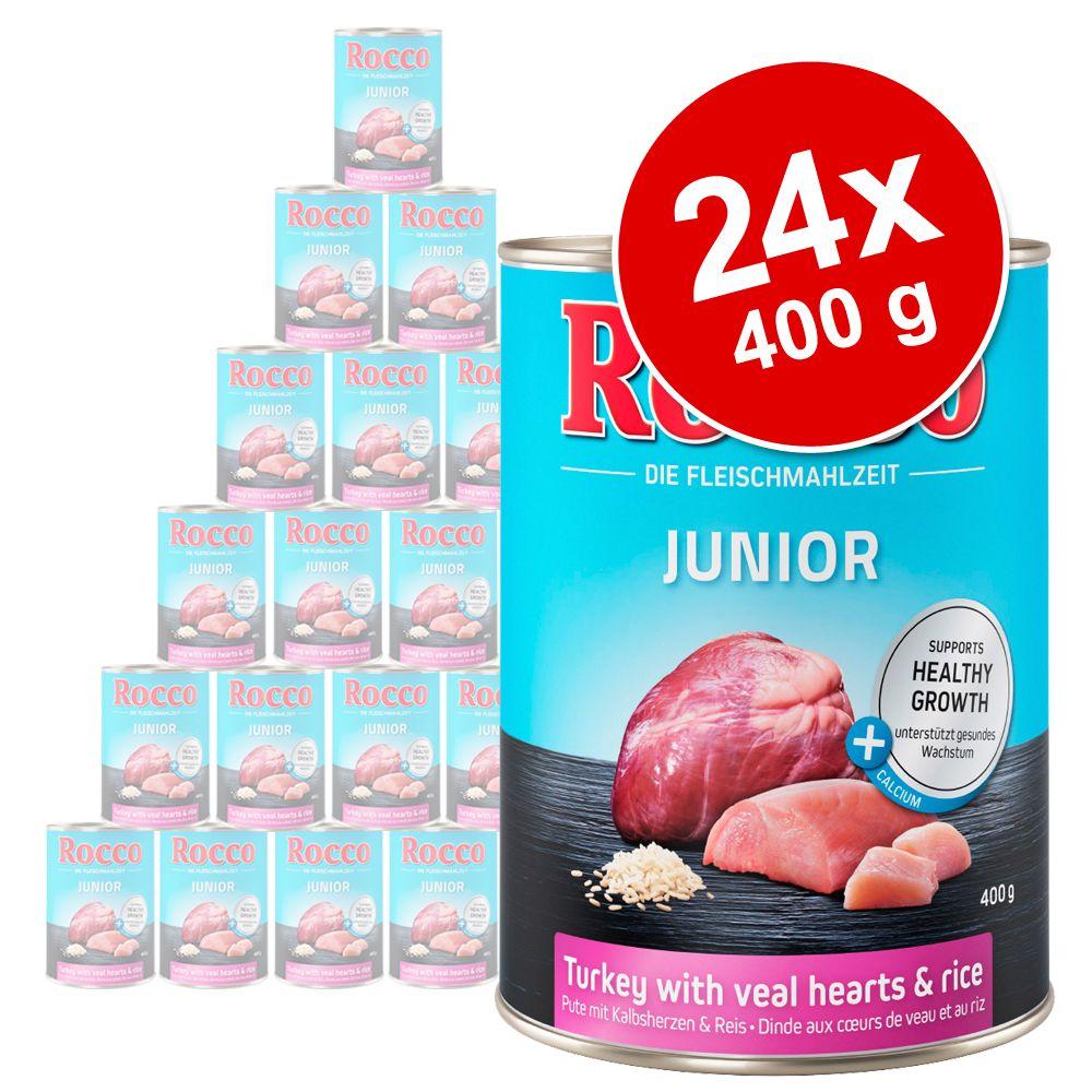 Varčno pakiranje Rocco Junior 24 x 400 g - Puran & telečja srca z rižem