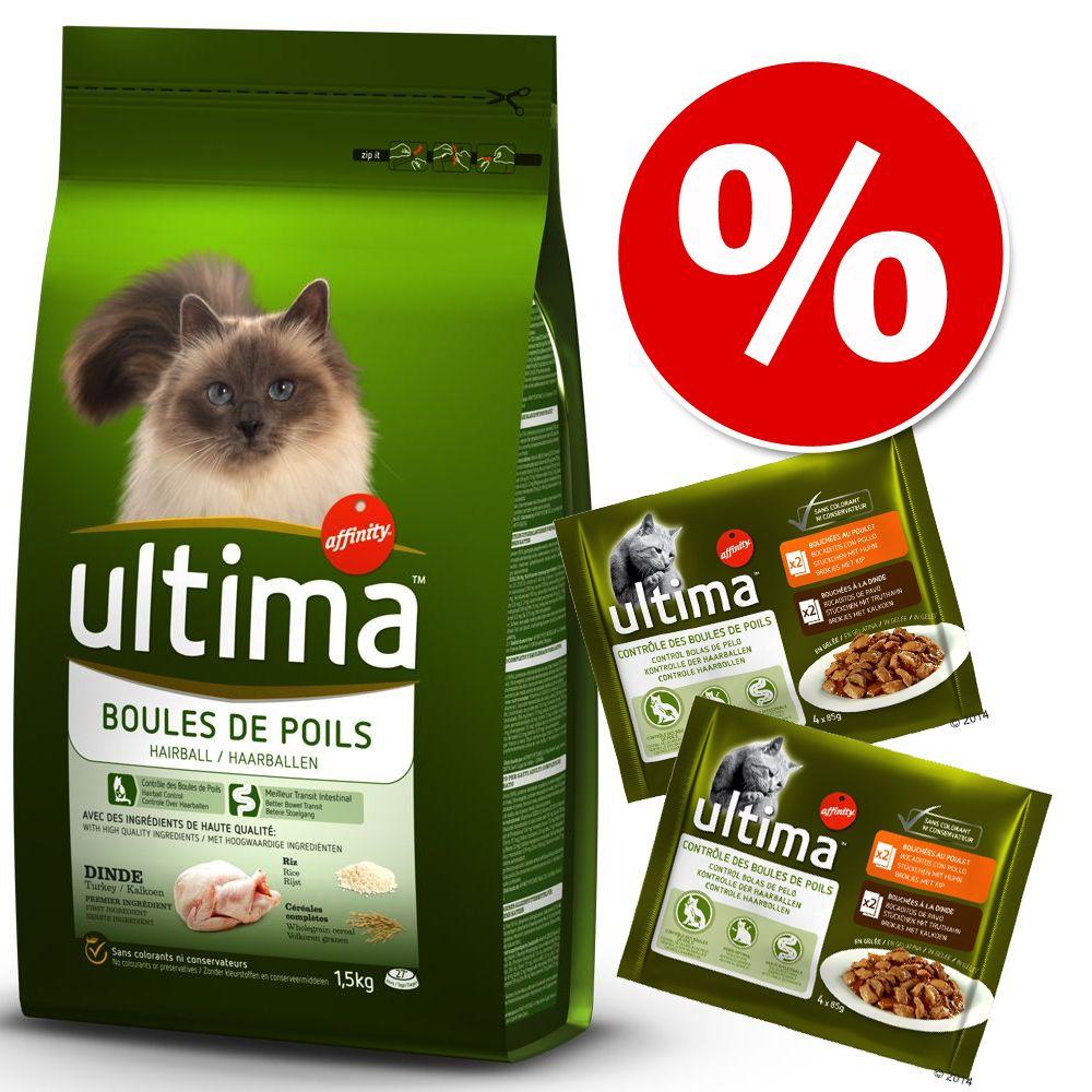 Blandpack: Ultima Cat torr- och våtfoder - 2 x 3 kg Sterilized Chicken & Barley + 24 x 85 g Sterilized Kyckling och lax