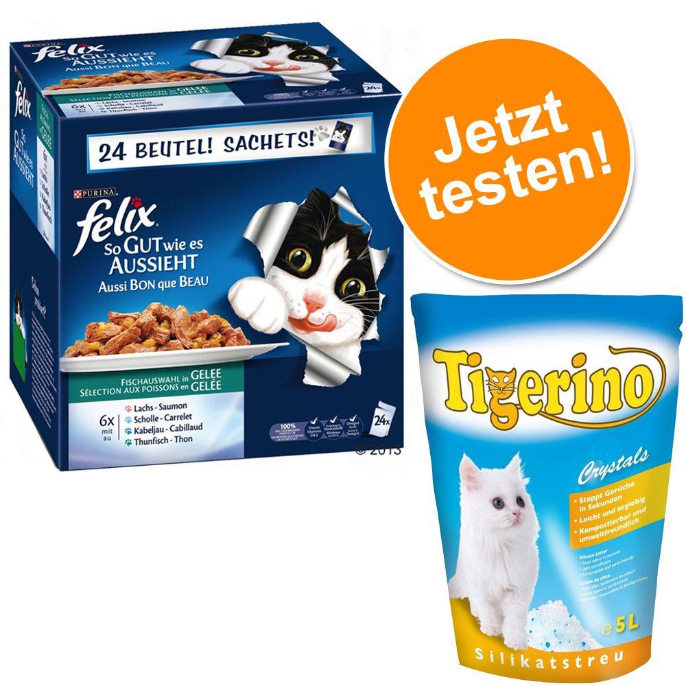 """24 x 100 g Felix Nassfutter + 5 l Tigerino Streu im Set! - """"So gut wie es..."""" Köstliche Fischvielfalt (Zooplus)"""
