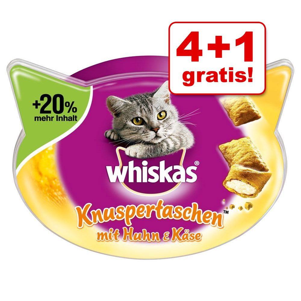 4 + 1 gratis! 5 x 48 / 66 / 72 g Whiskas Snacks...