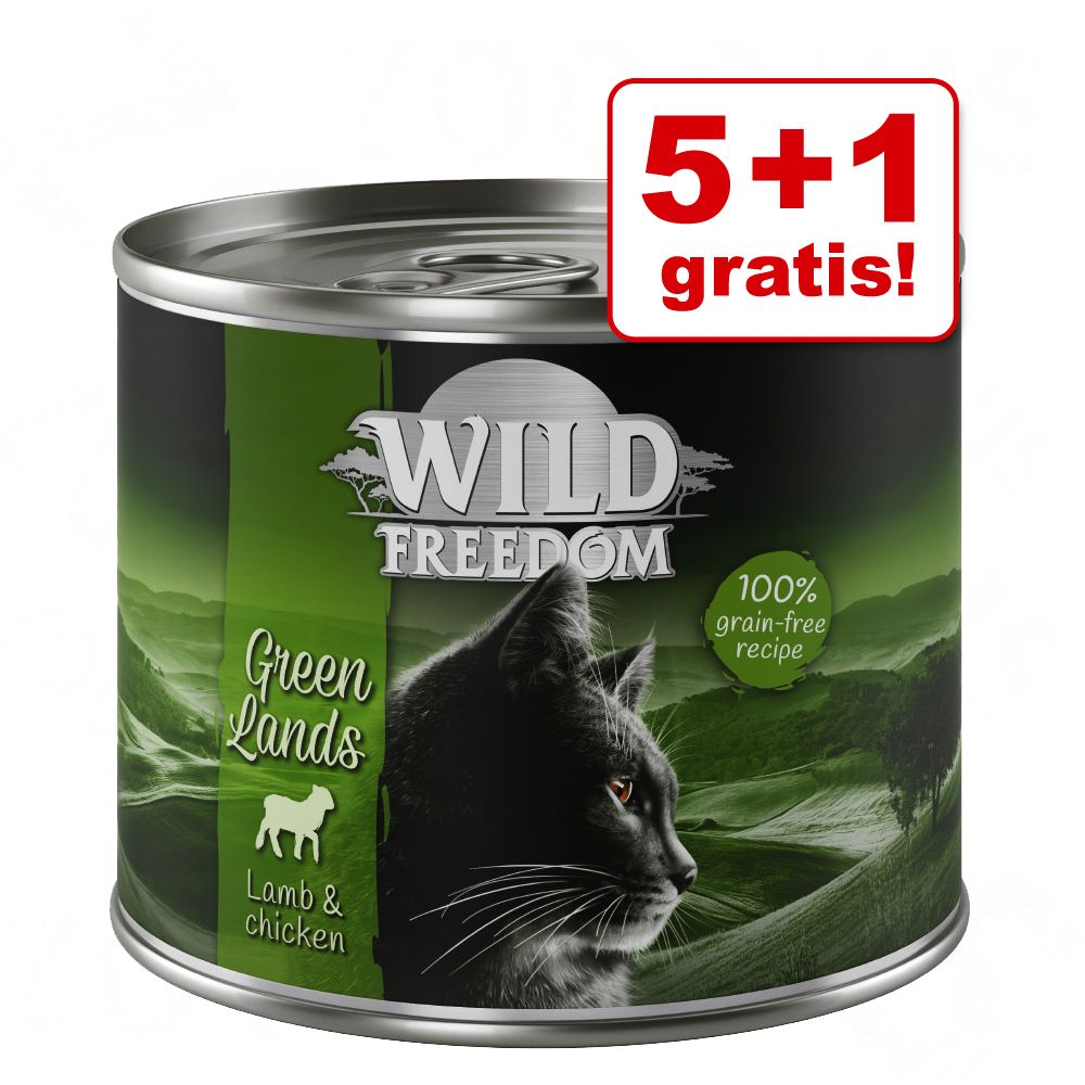 5 + 1 på köpet! Wild Freedom Adult 6 x 200 / 400 g - Green Lands - Lamb & Chicken 6 x 400 g
